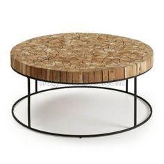 Mesa de centro SOLO de madera de teca con la estructura de hierro. Una mesa…
