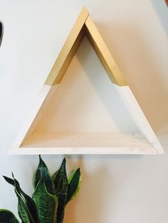 Triangle shelves-gold edition by blainestudios on Etsy