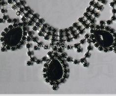 Black Transparent Rhinestone Necklace Earring Set Bridal Wedding ...