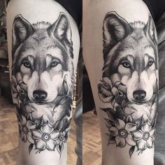 Image result for arm wolf tattoo geometric