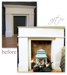 blue roof cabin: Faux Fireplace Mantel Updated with Rustic Wood Insert @ Home Ideas and Designs