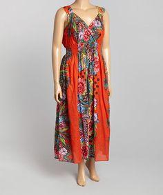 Orange & Green Floral Surplice Maxi Dress - Plus #zulily #zulilyfinds