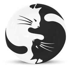 Prato de Parede - Ying Yang Cats | Caulim Porcelanas e Vidros Decorativos