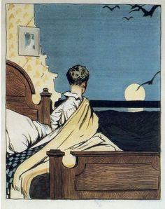 Edward Hopper, Boy And Moon By  1906-1907 (via androphilia)
