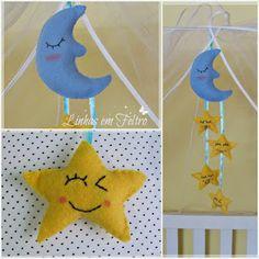 Móbile para berço com tema lua e estrela, feitos de feltro, artesanato