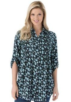 Plus Size Tunic top with button-tab convertible sleeves