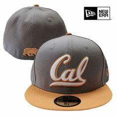 California Golden Bears New Era 59FIFTY® Cursive Logo & Walking Bear Flat Brim Fitted Hat - Grey/Gold - Click to enlarge
