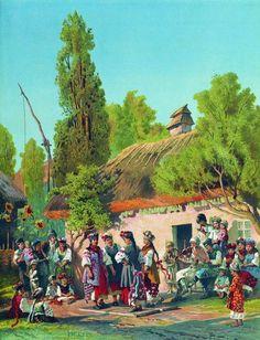 """Sunday evening, music in the village"", 1879,  Konstantin Makovsky. Russia"