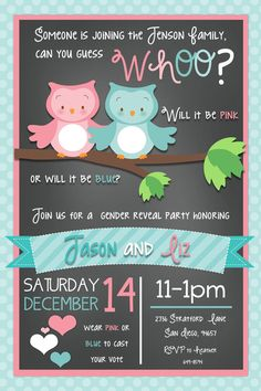 Owl Gender Reveal Party Invitation by beenesprout on Etsy, $12.50