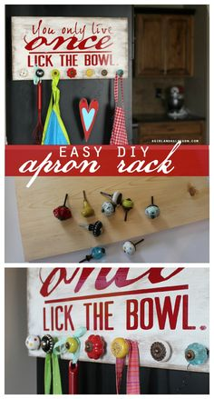 easy diy apron rack with expressions vinyl