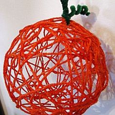 Pin It We made a yarn pumpkin, similar to this yarn egg we made for Easter.  This requires some manual dexterity and patience but it is very simple and relaxing and I think it looks lovely hanging from our chandelier! Supplies: Balloon School Glue Orange Yarn Green Pipe Cleaner Directions: Pin...