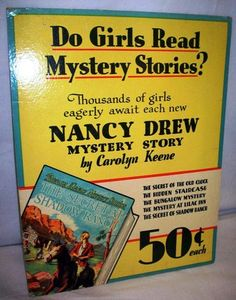 Nancy Drew, Collecting Nancy Drew books, Nancy Drew conventions, Mildred Wirt Benson, Nancy Drew News - sleuth for clues about anything Nancy Drew. Nancy Drew Mystery Stories, Nancy Drew Mysteries, Mystery Books, Advertising Ads, Vintage Advertisements, Retro Ads, Vintage Book Covers, Vintage Books, Nancy Drew Costume