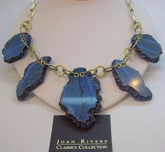 Joan Rivers Rock Revival Dangle Blue Faux Sliced Agates Necklace  MIB #JoanRivers #DangleNekclace