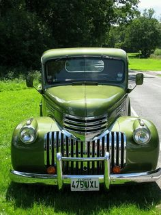Old green truck, 46 Chevy... Beautiful!