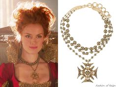 """In the episode 2x22 (""""Burn"""") Queen Elizabeth makes her grand entrance wearing this Virgins, Saints and Angels Designs Dark Magdalena Collar Necklace($266).Worn with a Reign Costumes custom gown and VSA Designs earrings."""