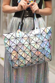 This look for lunchbox. An iridescent finish heightens the futuristic feel of Bao Bao Issey Miyake on Wishopoly Gyaru, My Bags, Purses And Bags, Holographic Fashion, Holographic Purse, Iridescent Fashion, Fashion Bags, Fashion Accessories, Fashion Handbags