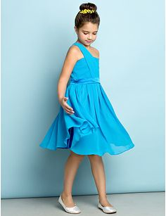 Knee-length Chiffon Junior Bridesmaid Dress - Ocean Blue A-line One  Shoulder 2016 -  59.99 fbf4e4927a5