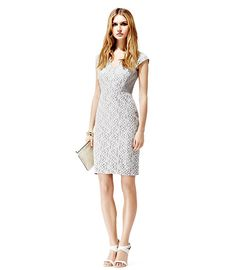 REISS  EDINA  FITTED LACE DRESS  LIGHT GREY  $340
