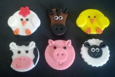 100-Edible-Handmade-Farm-yard-animals-cupcake-toppers-set-of-6