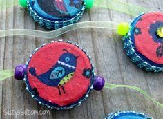 How to make pretty bottle cap bracelets! Great kids craft!  #ad #wherefunbegins