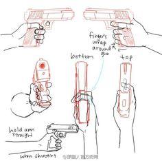 持枪的画法,透视,手部,动作,教程,参考,绘画,手绘,手枪