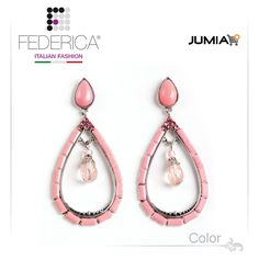 Earrings GIPSY 3 Drop-shaped earrings with pendant. Pink. 1,500.00 Ksh http://www.federicafashion.com/ep52/earrings-gipsy-3/ http://www.jumia.co.ke/federica-fashion/