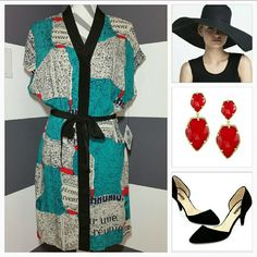 "Well Read"""" Kimono Dress Nwt"