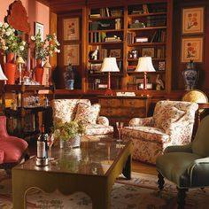 Awesome room....apricot walls, warm wood and pretty floral upholstered pieces