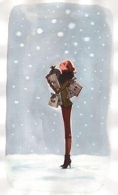 """myfairytaleeverafter: """" """" More? """" Shamless Plug: Life Lately """" Megan Hess, Christmas Mood, Christmas Shopping, Whimsical Christmas, Christmas Gifts, Illustrations, Illustration Art, My Little Paris, Christmas Drawing"""