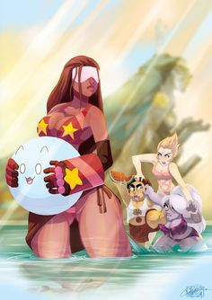 steven universe garnet pearl amethyst swimsuit swimming summer fanart