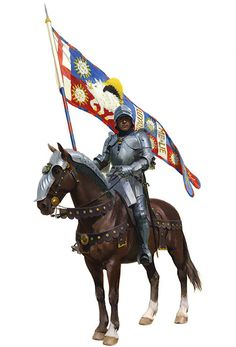 Battle of Bosworth 22nd August 1485 - Sir Percival Thirlwall proudly carries the standard of King Richard III