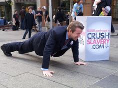 10,000 Push-ups to Crush Slavery - Our passionate Director of Reputation Marketing, Paul Harvey, pumped out 10,000 push-ups to raise awareness  in 2011. He's devoted the rest of his life to ending sex slavery.