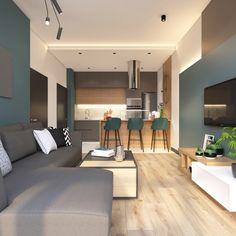 68 Ideas Kitchen Design Modern Gray Living Rooms For 2019 Small Apartment Interior, Small Apartment Living, Small Living Rooms, Home Living Room, Living Room Designs, Small Kitchen Layouts, New Kitchen Designs, Modern Kitchen Design, Grey Interior Design