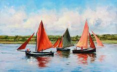 Galway Hooker Painting - Galway Hookers by Conor McGuire