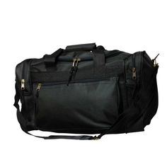 """""""DALIX 17"""""""" Duffle Travel Bag with Water Bottle Mesh Pockets in Black"""""""
