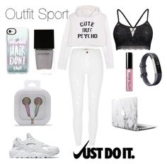 """Outfit Sport"" by sophiebenson16 on Polyvore featuring Fitbit, NIKE, Casetify, Forever 21, Witchery and Bobbi Brown Cosmetics"