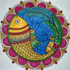 Kerala Mural Painting, Indian Art Paintings, Madhubani Painting, Kolam Rangoli, Madhubani Art, Indian Folk Art, Wall Drawing, Small Canvas, Fish Art
