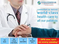 Venkateshwar Hospital committed to deliver #WorldClass health care to all our #patients. #OPD now open on every Sunday. www.venkateshwarhospitals.com #VenkateshwarHospital #HealthCare #HospitalinDelhi #Dwarka