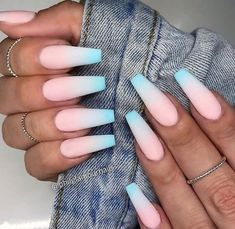 32 Extraordinary White Acrylic Nail Designs to Finish Your Trendy Look - Polish . - 32 Extraordinary White Acrylic Nail Designs to Finish Your Trendy Look – Polish … – - Acrylic Nails Coffin Short, Summer Acrylic Nails, Best Acrylic Nails, Pastel Nails, Summer Nails, Blue Ombre Nails, Coffin Nails Matte, Coffin Shape Nails, Blue Nail
