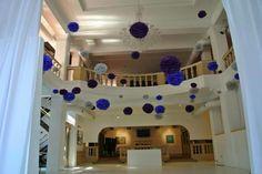 Tissue pom poms floating over the dance floor- poms by Paperwhite Designs Tissue Pom Poms, Paper Straws, Washi Tape, Dancer, Etsy Seller, Party Ideas, Floor, Mansions, House Styles
