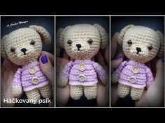 Háčkovaný psík/Little cute doggie (english subtitles) - YouTube Crochet, Teddy Bear, English, Toys, Cute, Youtube, Animals, Carton Box, Crates