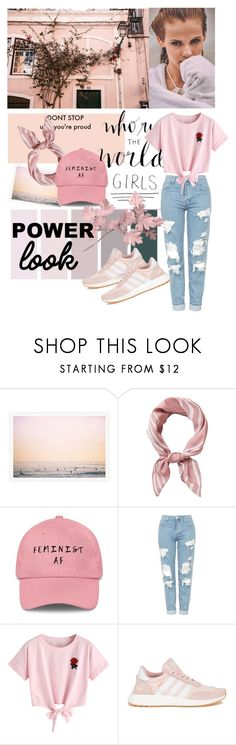"""""""Pink Power"""" by diranni ❤ liked on Polyvore featuring Topshop, WithChic, adidas, Pink, jeans, girlpower and powerlook"""