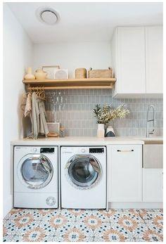 Laundry Decor, Laundry Room Organization, Laundry Room Design, Laundry In Bathroom, Laundry Closet, Garage Laundry Rooms, Mud Room Garage, Laundy Room, Modern Laundry Rooms