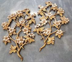 Vintage Burwood 4280 & 4281 Dogwood Blossoms Gold Wall Décor Art Pair x