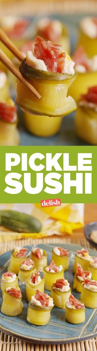 Sushi Pickle Sushi is the addictive snack you never knew you were craving. Get the recipe from .Pickle Sushi is the addictive snack you never knew you were craving. Get the recipe from . Finger Food Appetizers, Yummy Appetizers, Finger Foods, Appetizer Recipes, Holiday Appetizers, Sushi Recipes, Low Carb Recipes, Cooking Recipes, Recipies