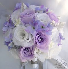 "17 Pieces Package Silk Flower Wedding Decoration Bridal Bouquet WHITE LAVENDER ""Lily Of Angeles"""