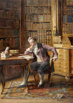 gentleman in his library. by Johann Hamza