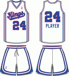 Sacramento Kings Home Uniform (1986) - 'Kings' scripted in blue outlined in red, with blue and red trim.