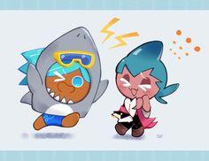 Shark Cookies, Cookie Run, Aesthetic Pastel Wallpaper, Strong Girls, Memes, Cute Guys, Chibi, Fairy Tales, My Arts