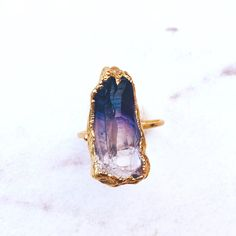 Raw Amethyst Ring Boho Jewelry Bohemian Ring Rough by Ringcrush